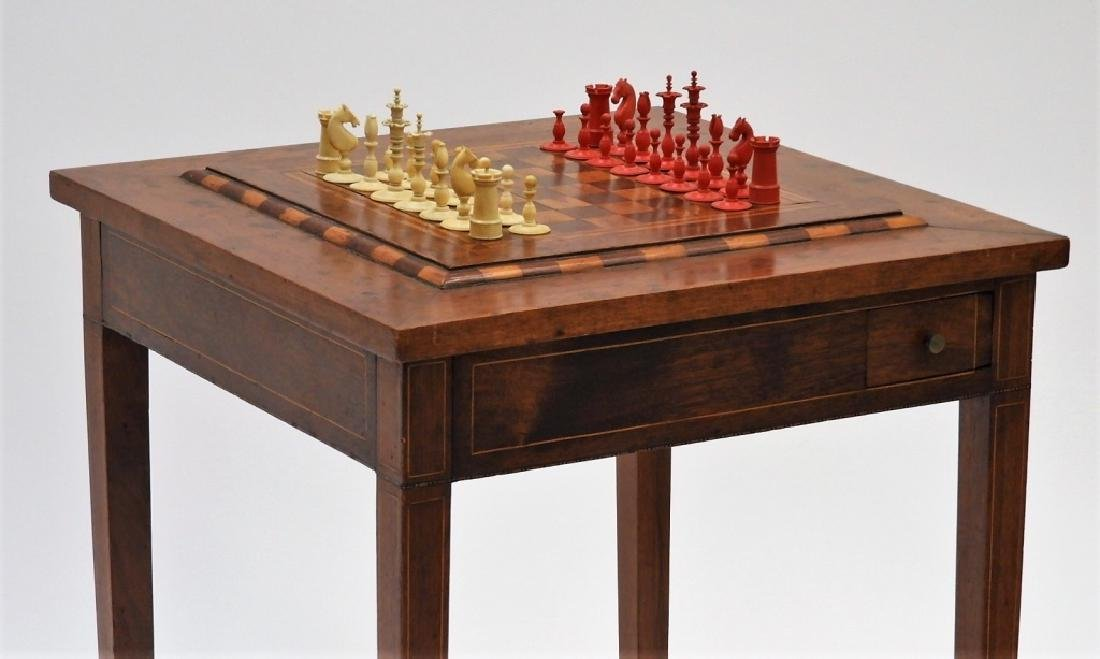 Continental Mahogany & Ivory Chess Game Table