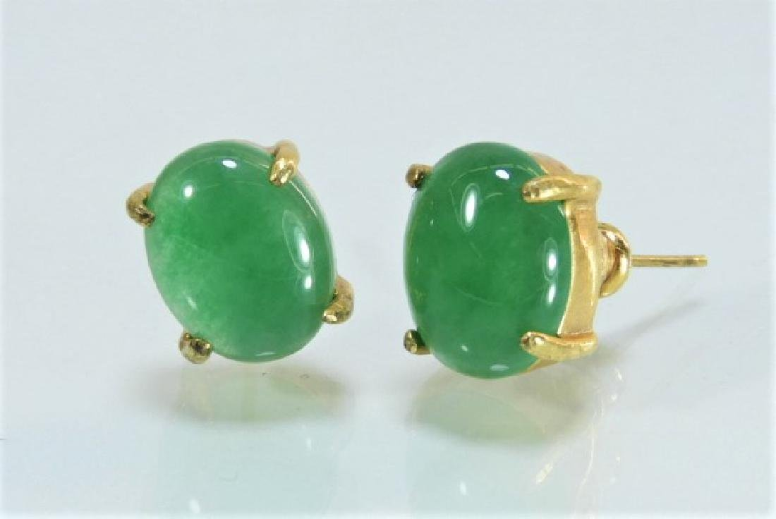 Chinese High Karat Gold Jade Cabochon Earrings