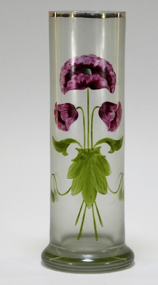 Bohemian Czech Gilt Enameled Art Glass Floral Vase