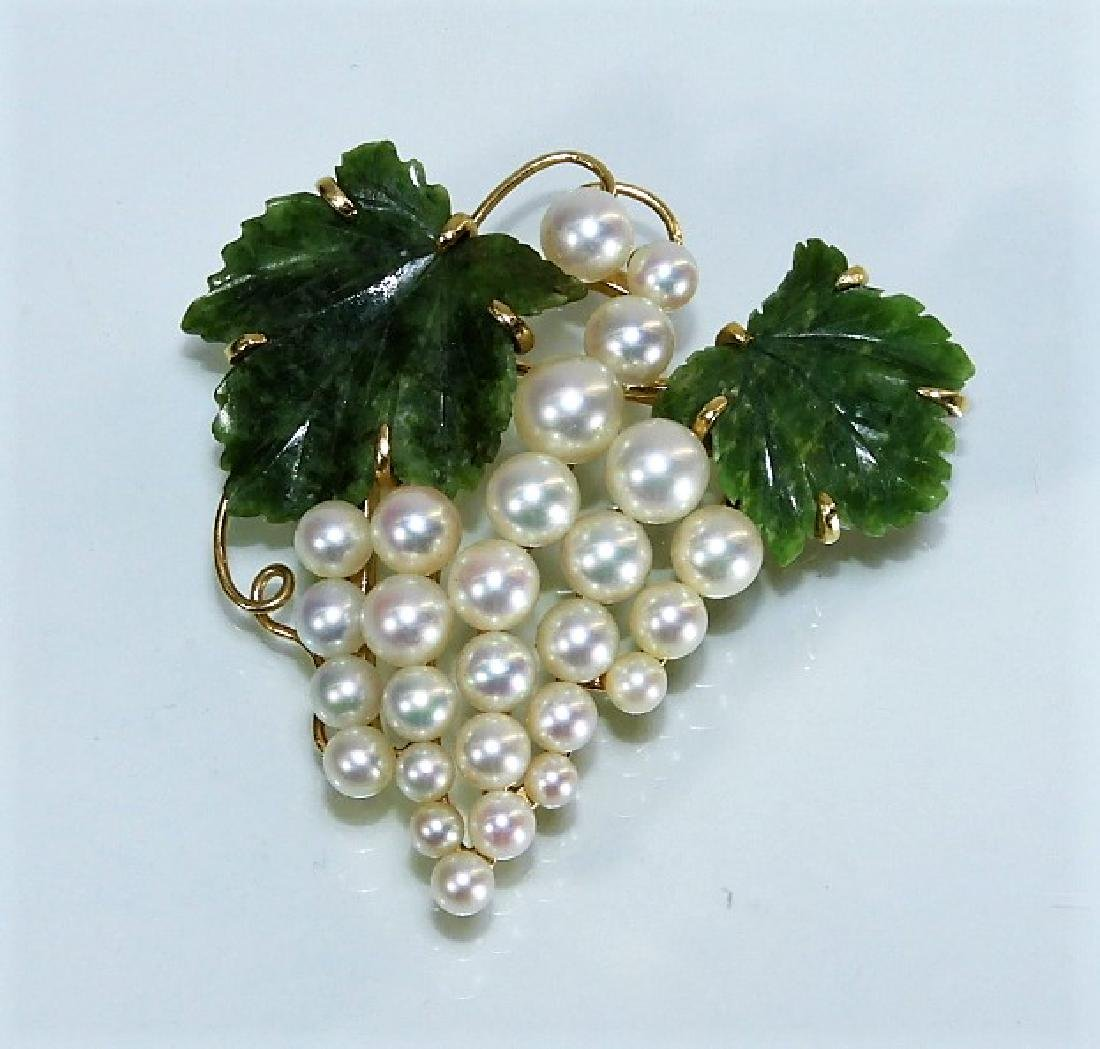 14 Karat Spinach Jade and Pearl Grape Vine Brooch