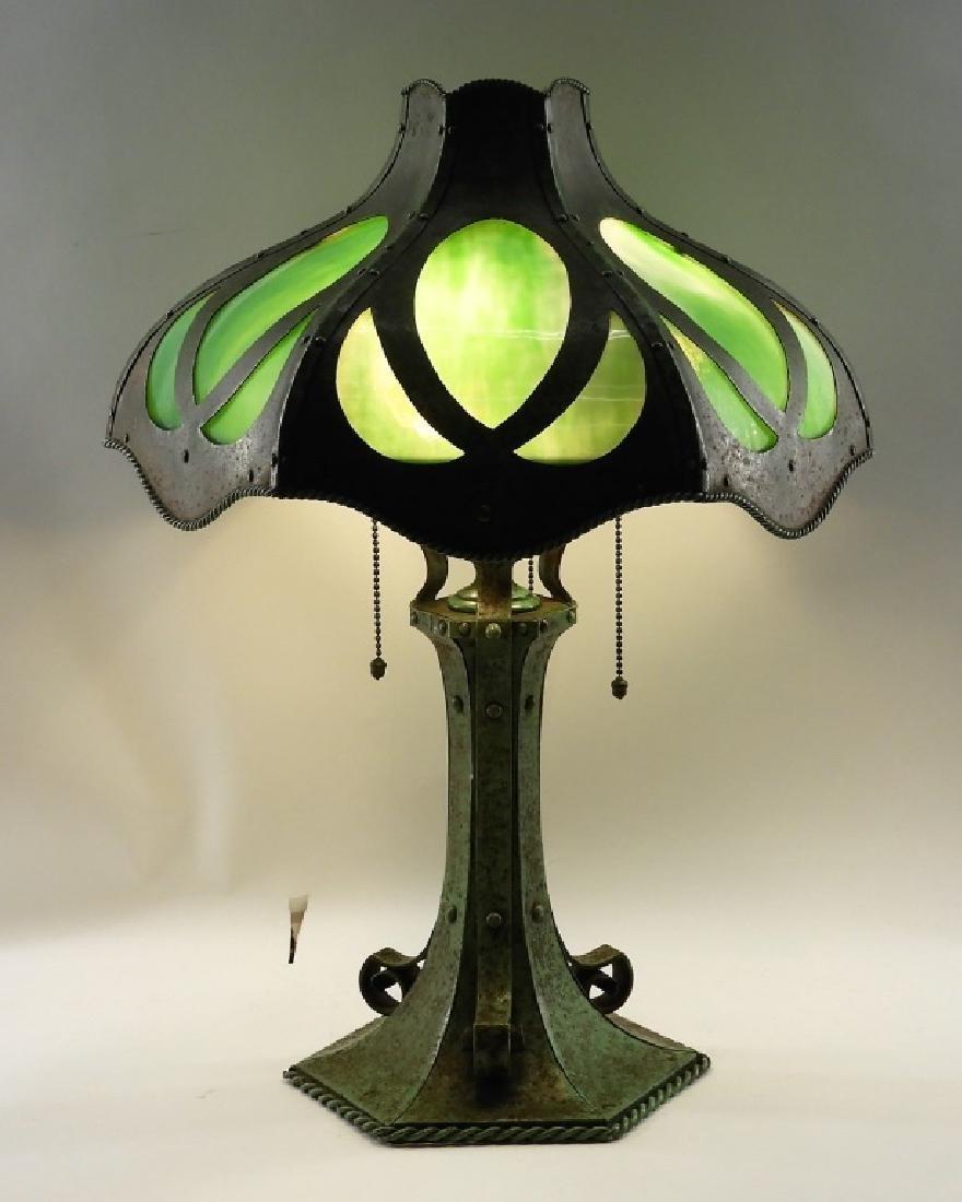Bradley & Hubbard Green Slag Glass Lamp