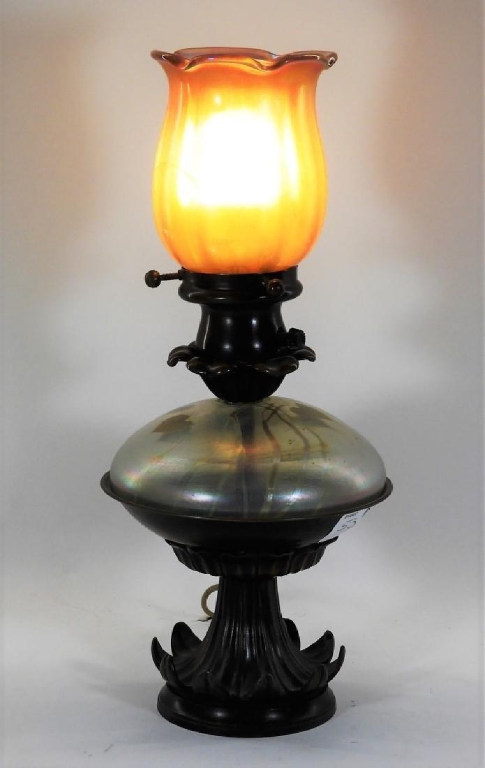 American Brass Mounted Iridescent Art Glass Lamp