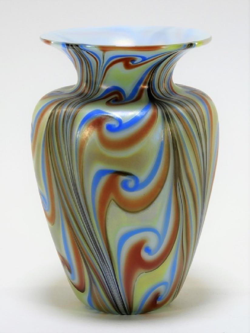 Iridescent Cased Art Glass Feathered Vase