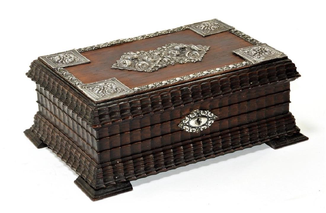 19C. European Carved Rosewood & Silver Jewelry Box