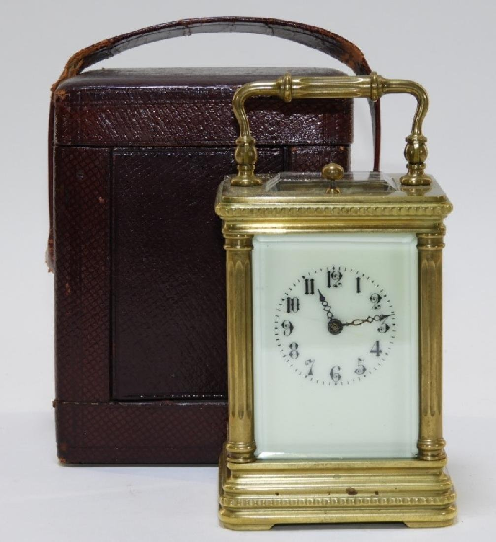 19C. French Bronze Repeater Carriage Clock w Case