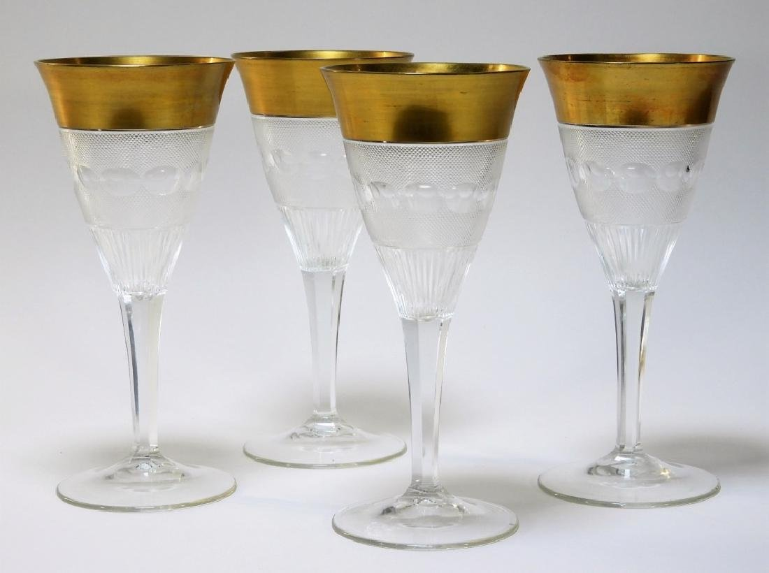 4 Bohemian Czechoslovakian Gilt Cut Glass Goblets