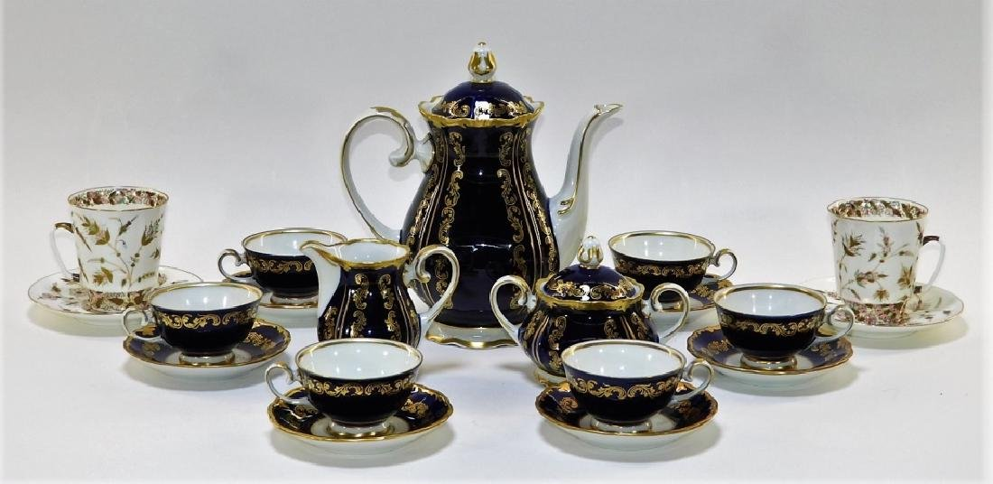 German Soviet Art Nouveau Gilt Cobalt Tea Set &Cup