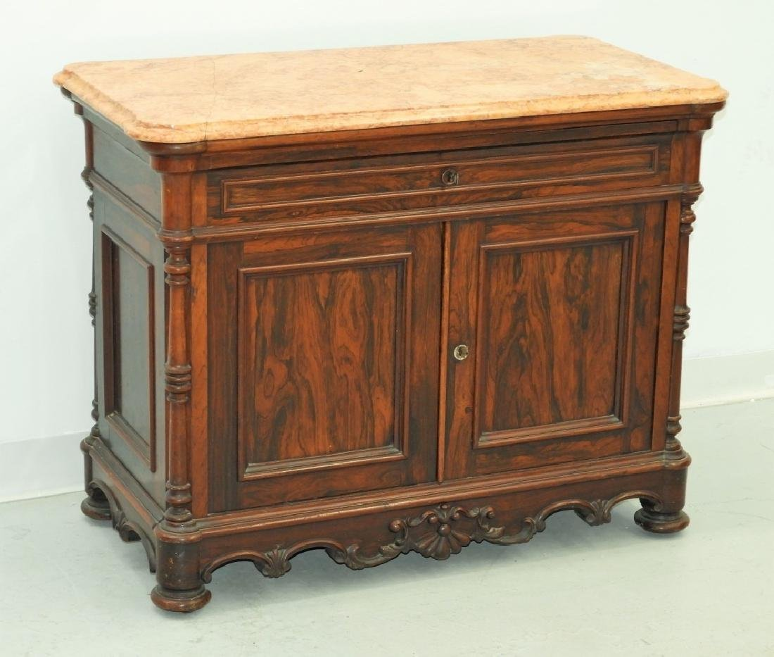 19C. French Rococo Rosewood Marble Top Commode