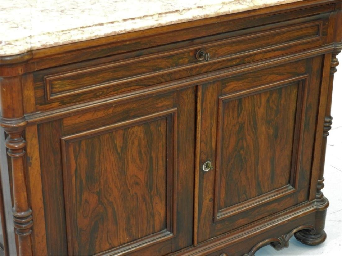 19C. French Rococo Rosewood Marble Top Commode - 3