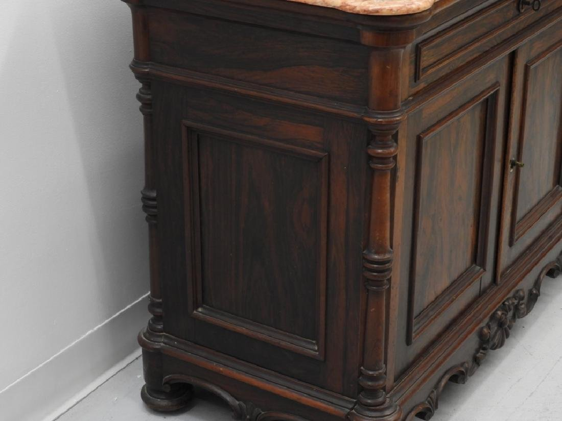 19C. French Rococo Rosewood Marble Top Commode - 4