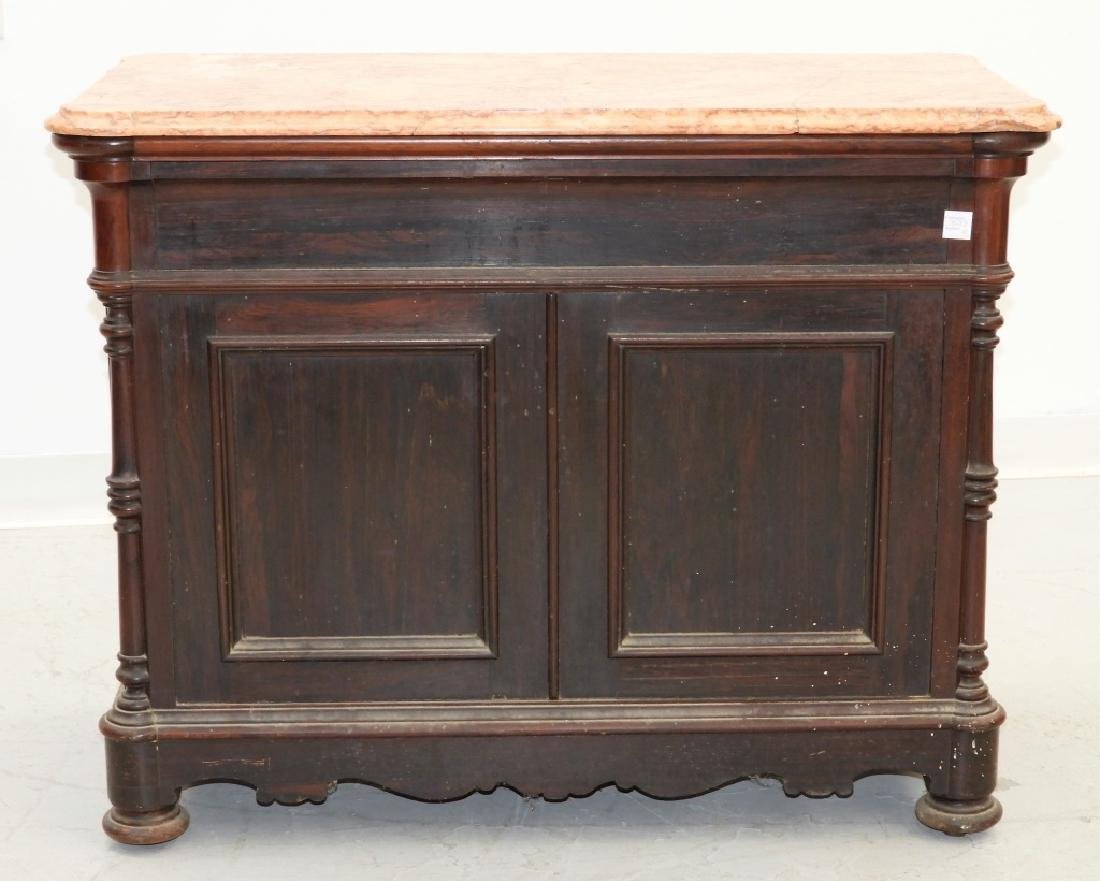 19C. French Rococo Rosewood Marble Top Commode - 6