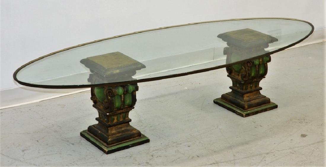 Italian Corinthian Capital Polychrome Coffee Table