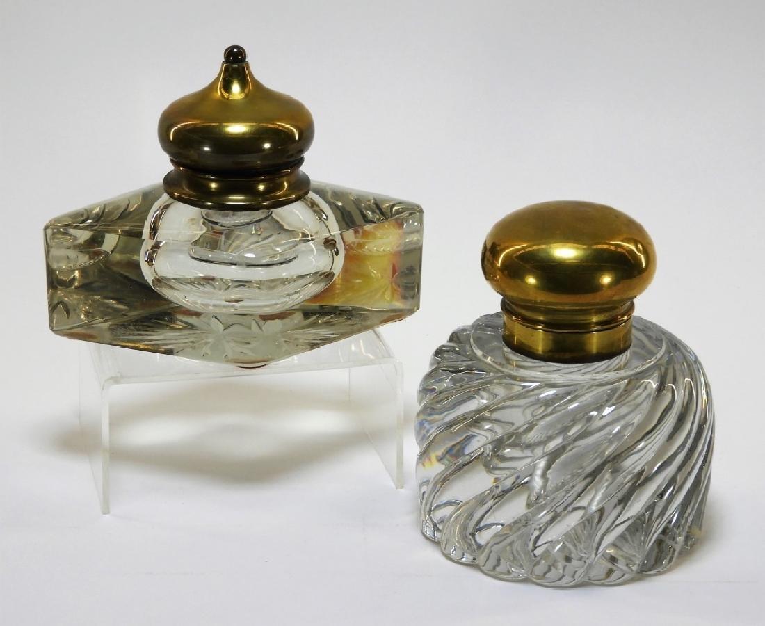 2PC American Clear Glass Swirl & Diamond Inkwells