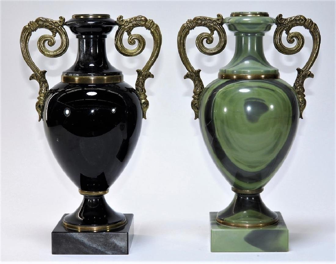 2 Russian Agate Bronze Mounted Specimen Stone Urns