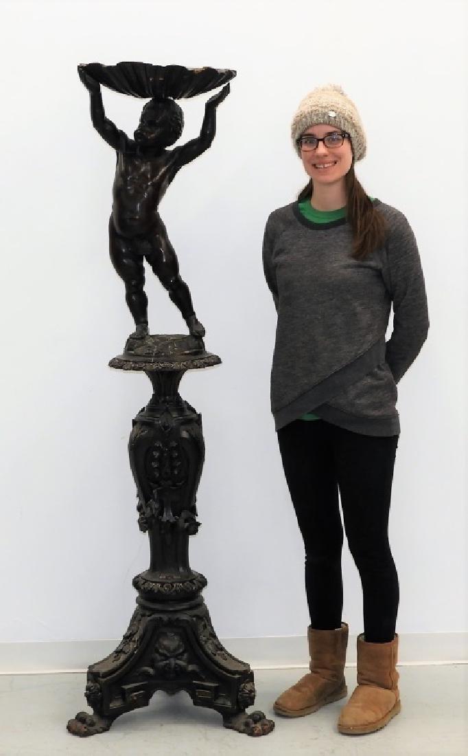 19C Italian Renaissance Revival Putti on Pedestal