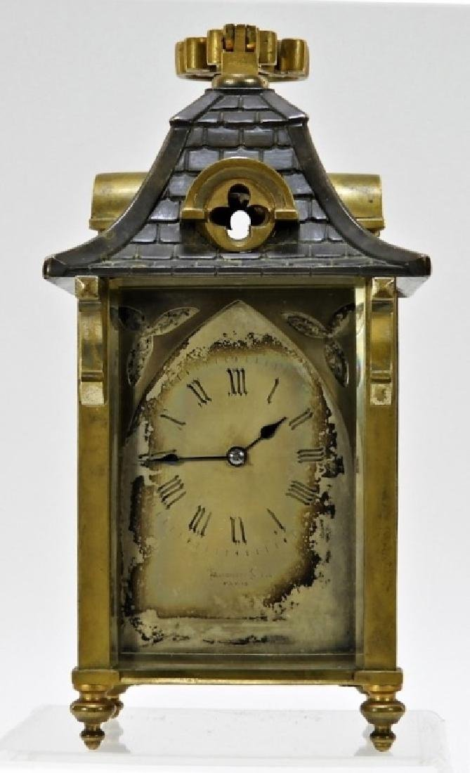 Auguste Klein Gothic French Bronze Carriage Clock