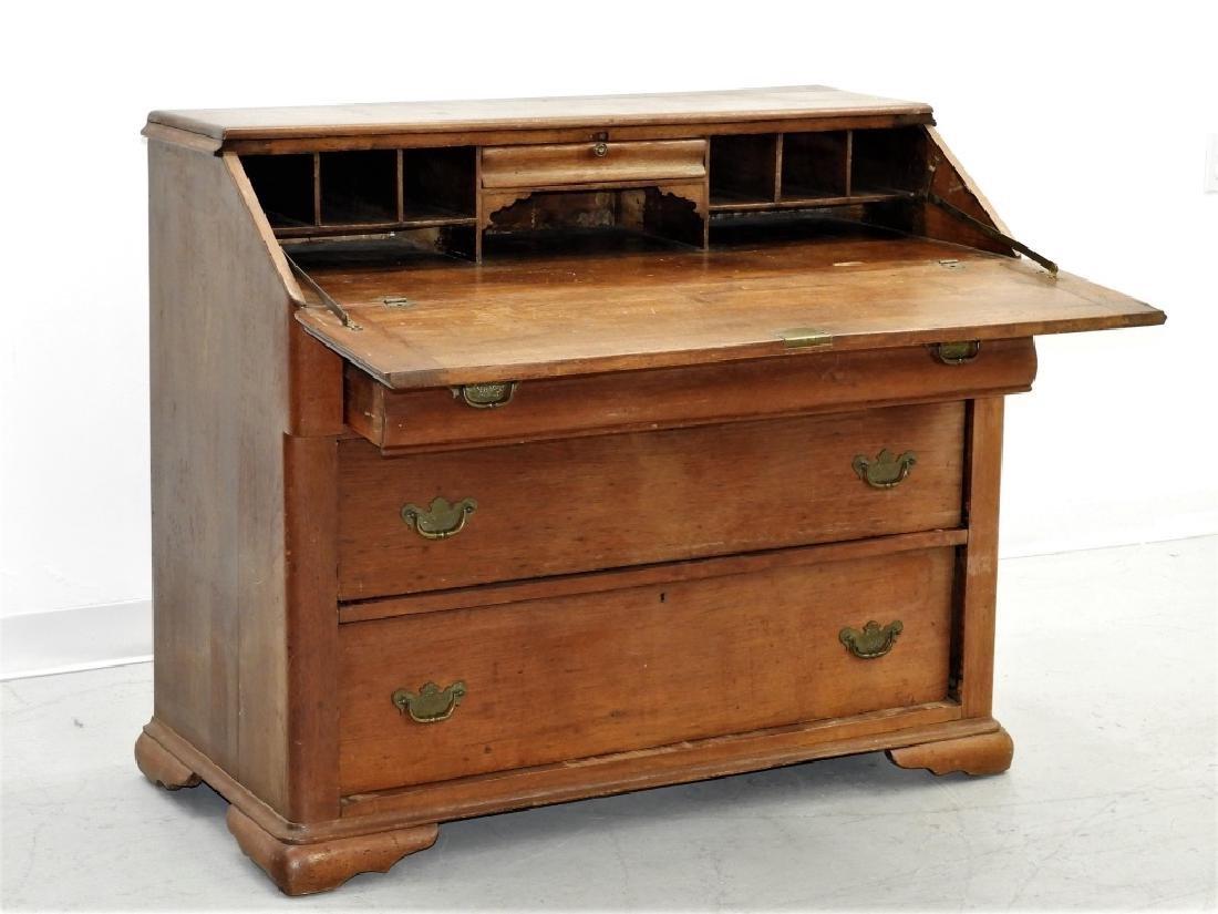19C American Walnut Slant Top Panel Front Desk