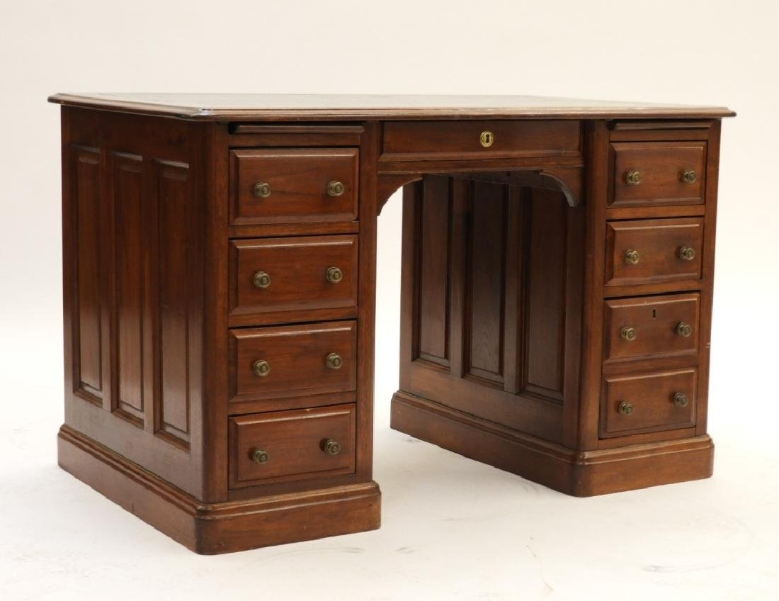 Victorian Walnut Double Bank Leather Top Desk