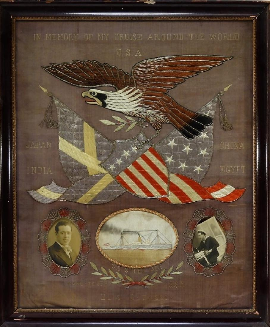 C.1925 Nautical Military Silk Memorial Picture