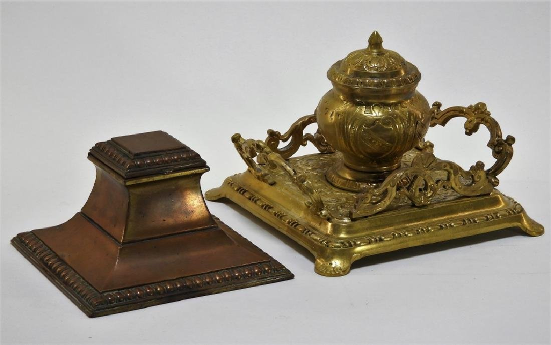 2PC American Brass & Copper Inkwells