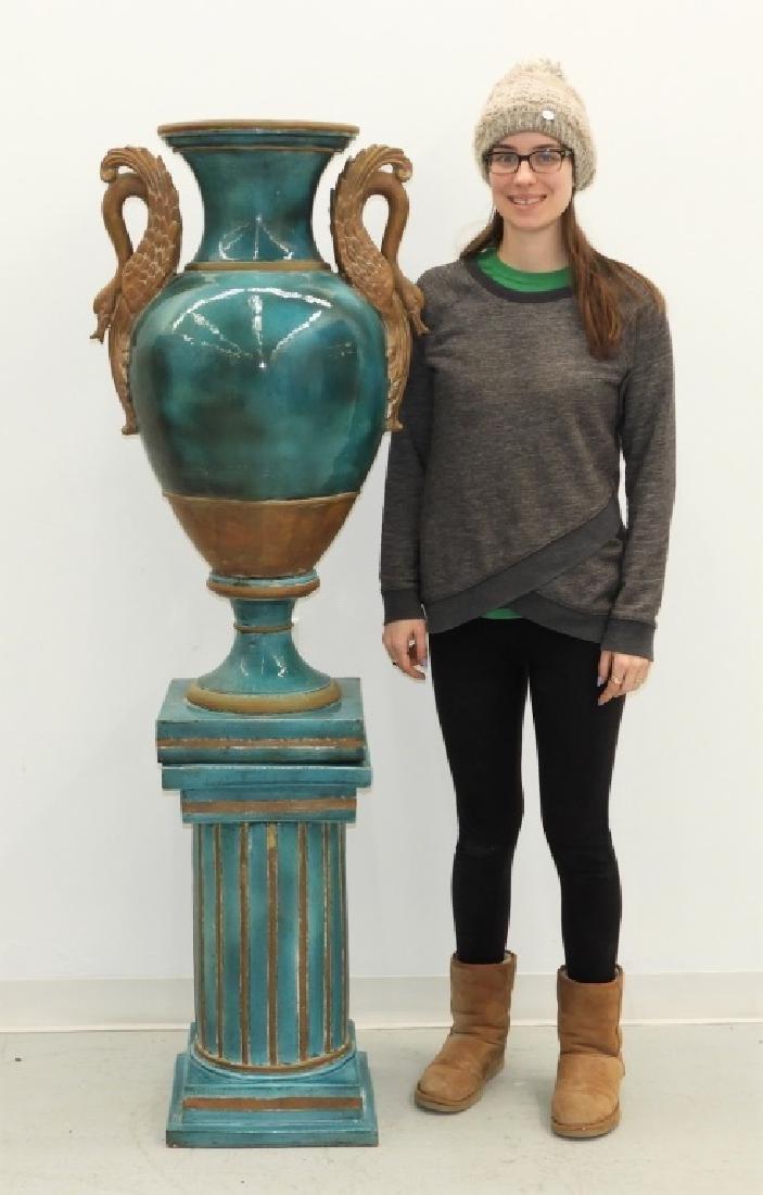 LG European Terracotta Swan Handle Urn on Stand