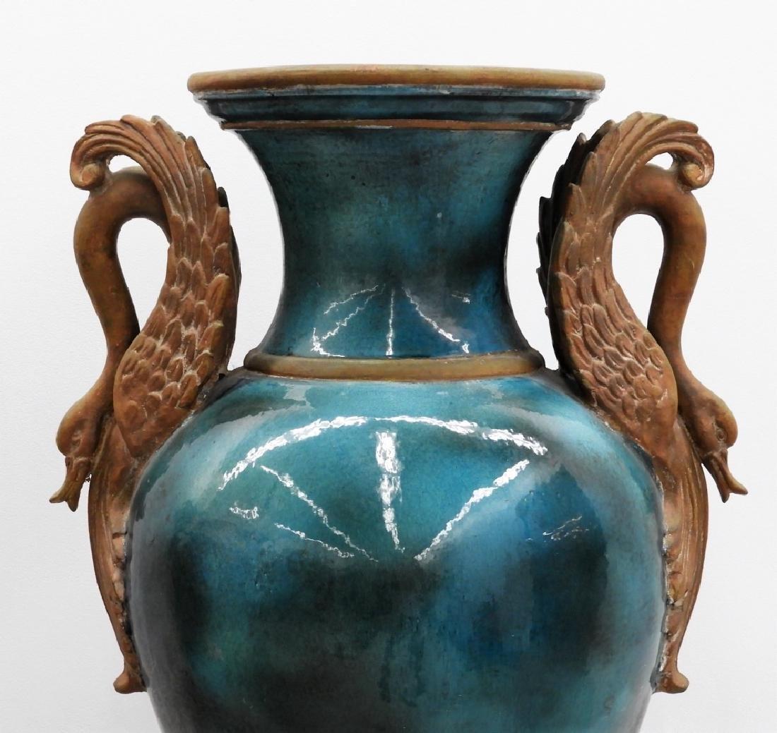 LG European Terracotta Swan Handle Urn on Stand - 2