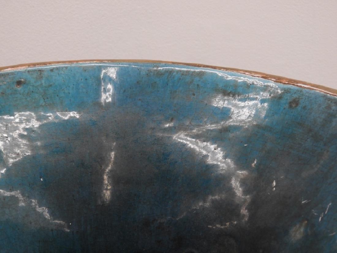 LG European Terracotta Swan Handle Urn on Stand - 7