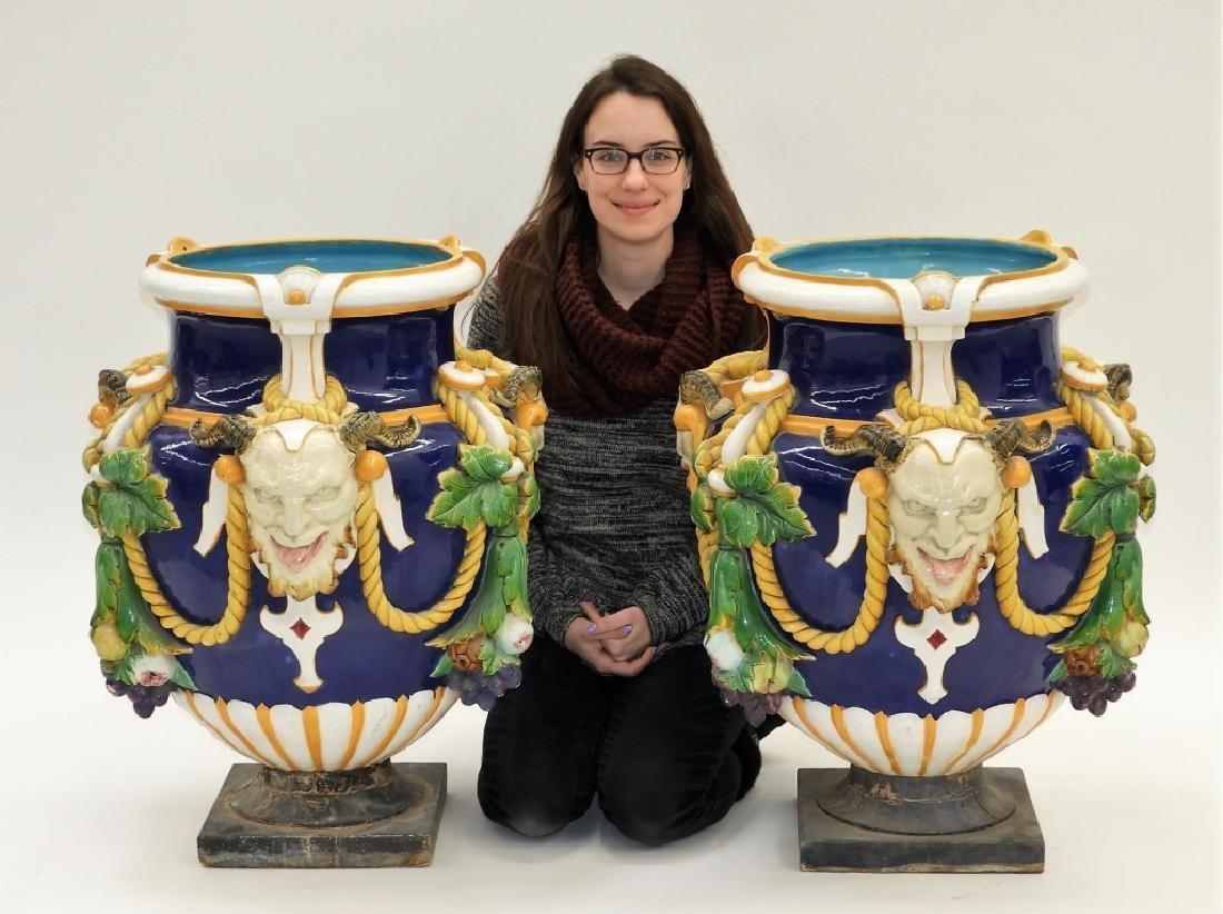 MONUMENTAL PR Minton Majolica Bacchus Vases