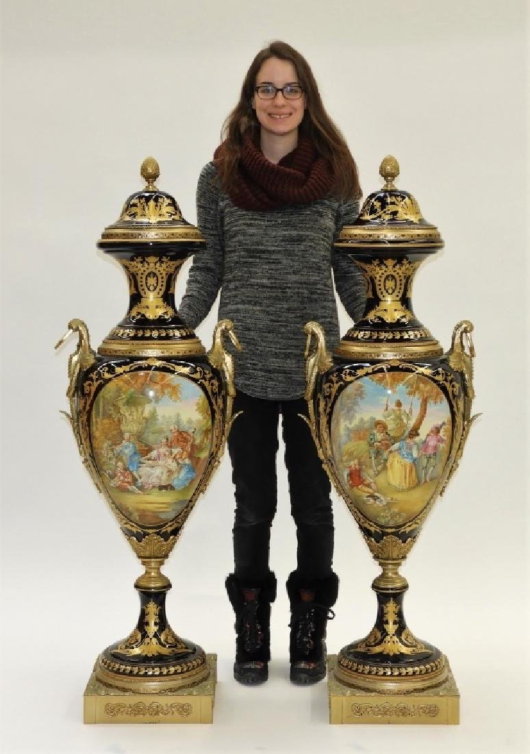 PR French Sevres Style Porcelain Palatial Urns