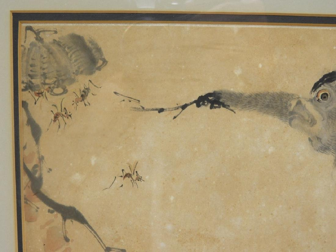 Chinese Calligraphic WC Painting of Two Monkeys - 4