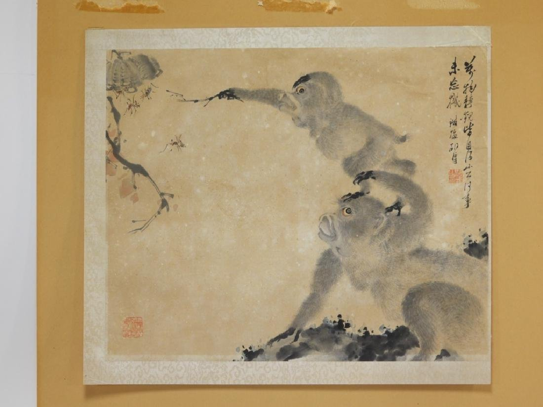 Chinese Calligraphic WC Painting of Two Monkeys - 6