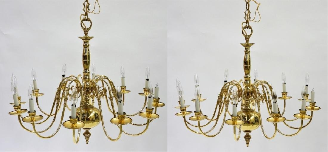 PR American Brass Federalist 12 Arm Chandelier
