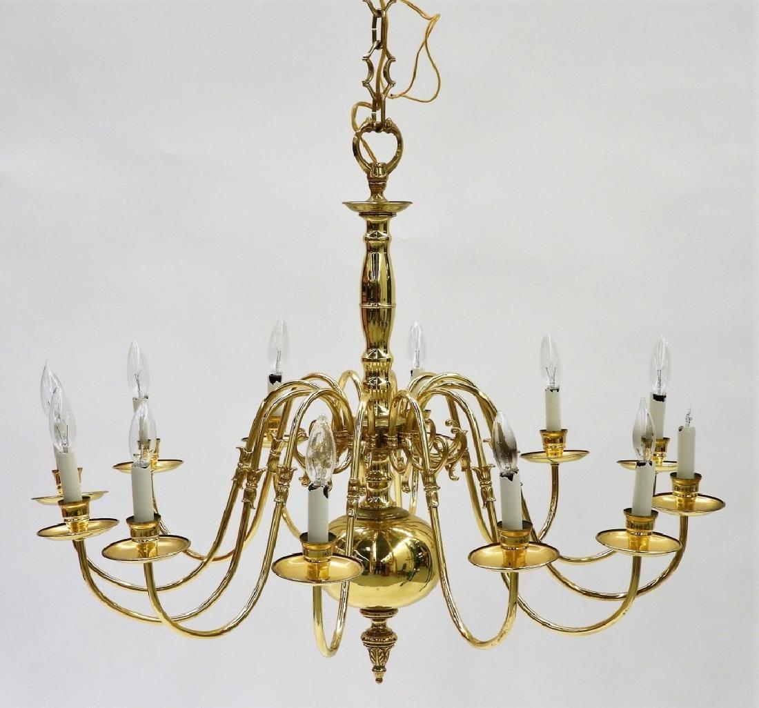 PR American Brass Federalist 12 Arm Chandelier - 2