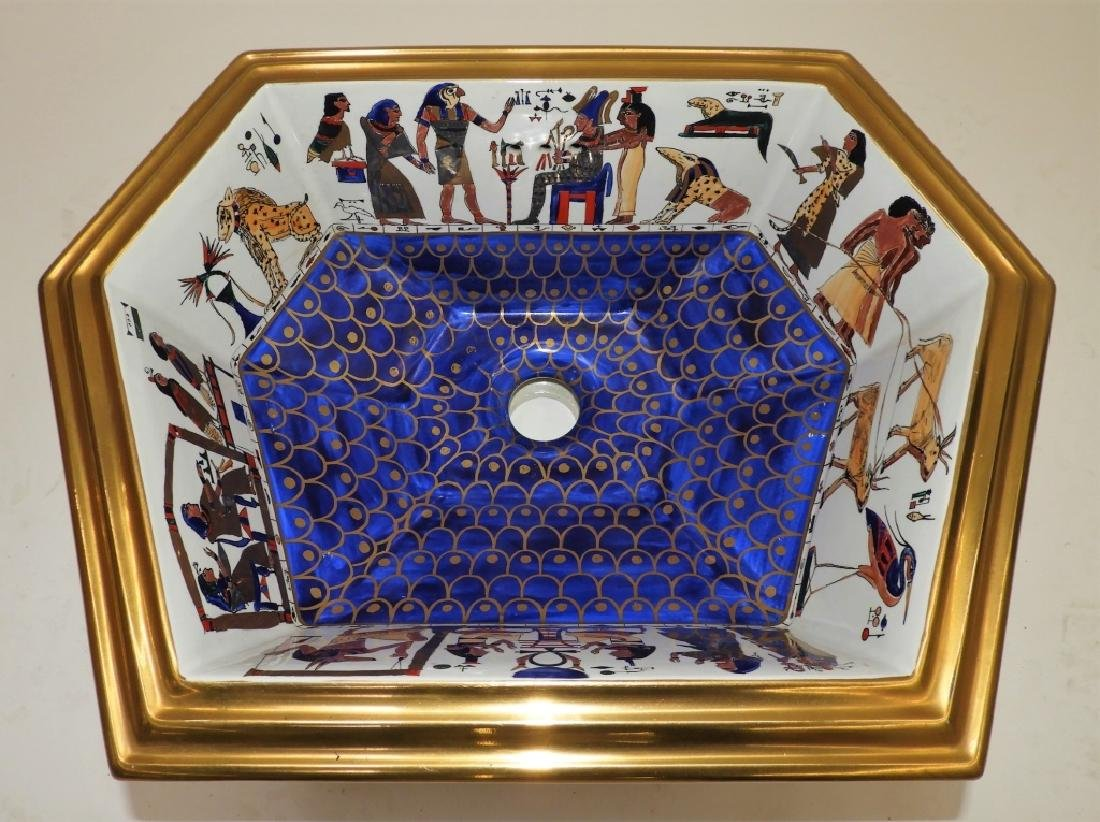 Sherle Wagner Egyptian Hieroglyph Porcelain Sink
