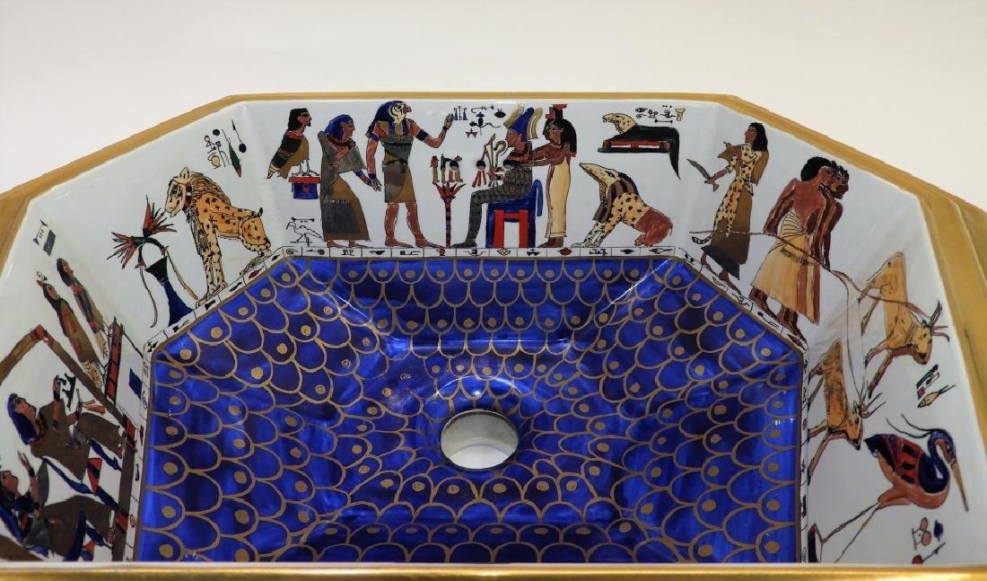 Sherle Wagner Egyptian Hieroglyph Porcelain Sink - 2
