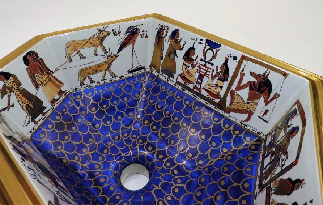 Sherle Wagner Egyptian Hieroglyph Porcelain Sink - 3