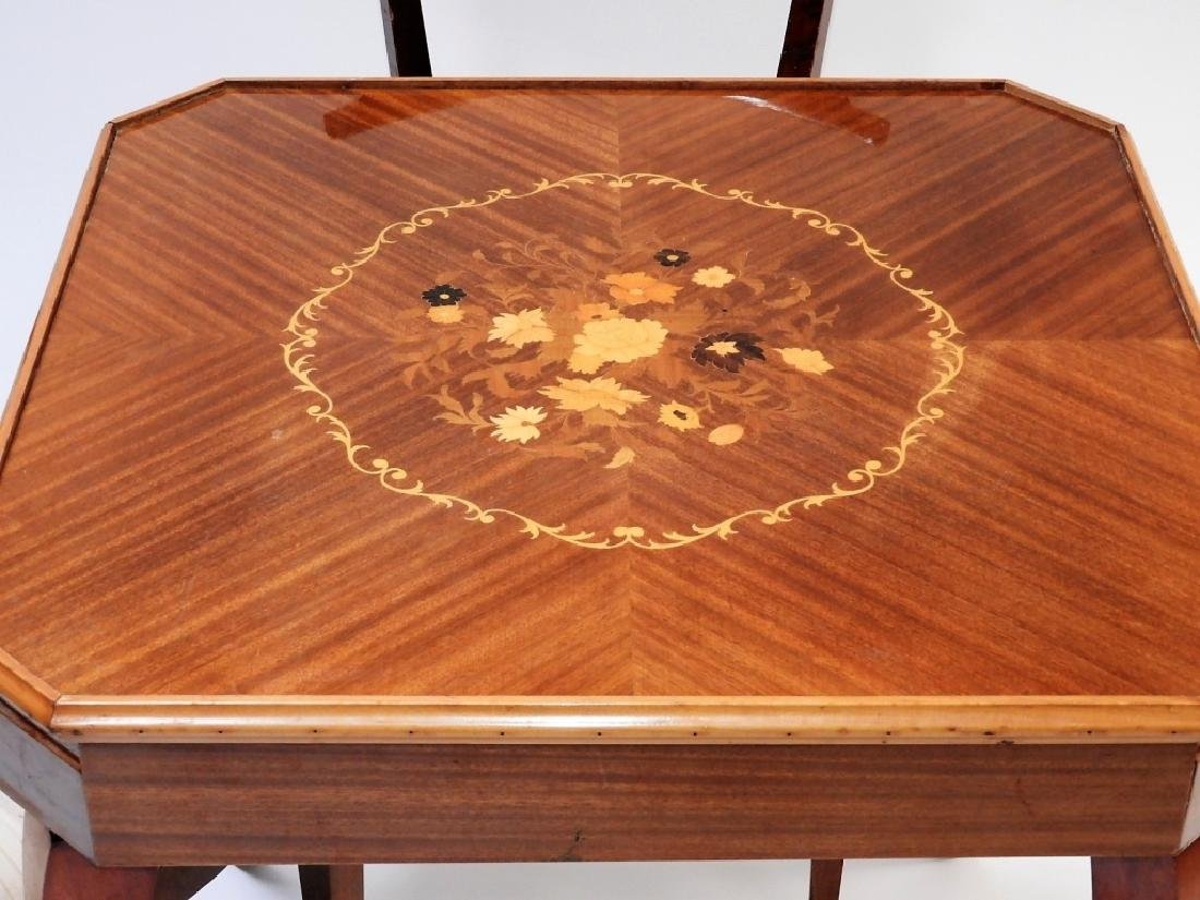 Italian Exotic Wood Carved Game Table & 4 Chairs - 10