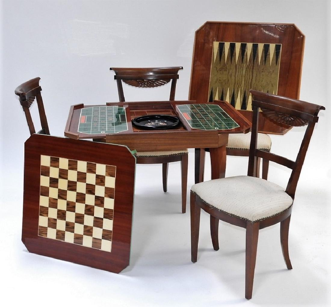 Italian Exotic Wood Carved Game Table & 4 Chairs