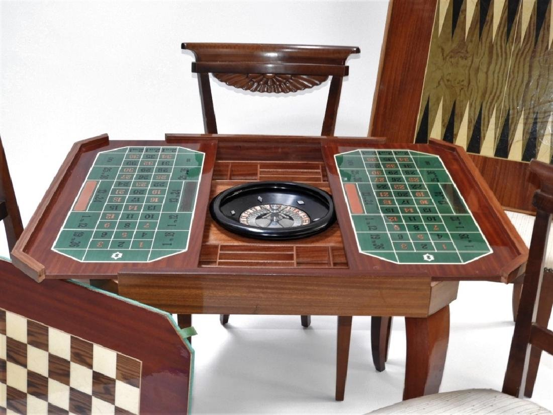 Italian Exotic Wood Carved Game Table & 4 Chairs - 2