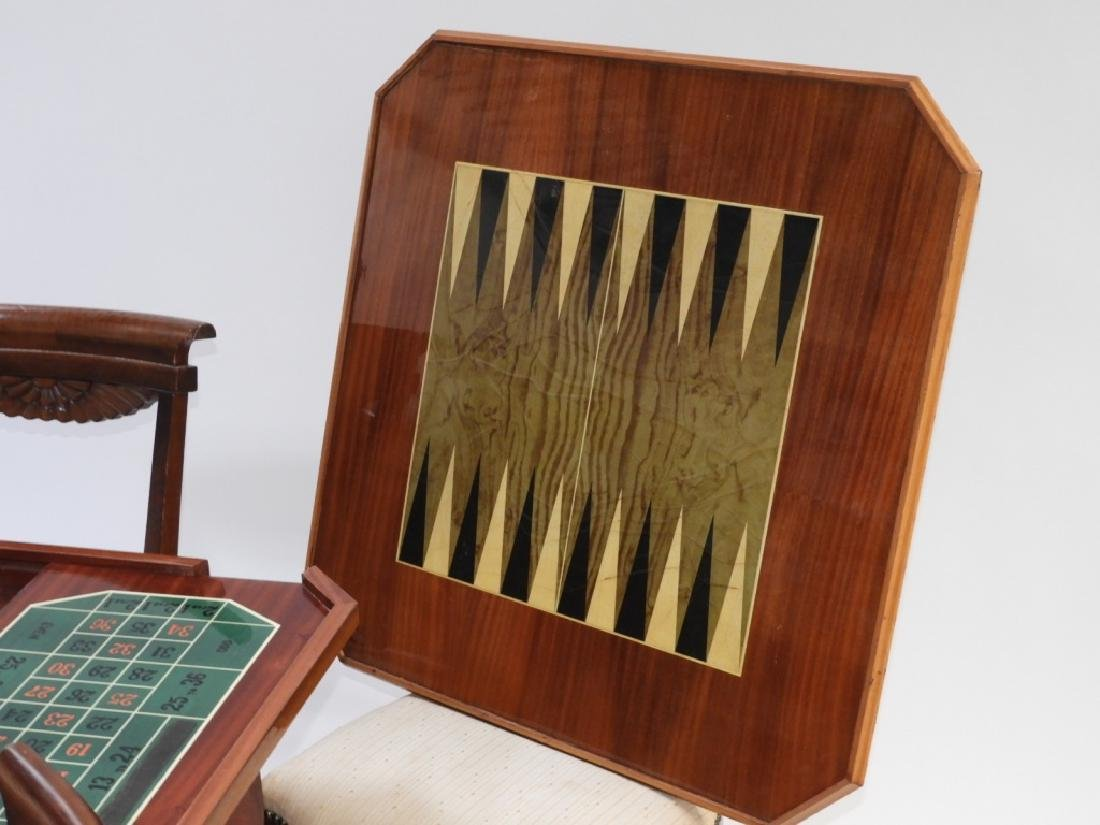 Italian Exotic Wood Carved Game Table & 4 Chairs - 4