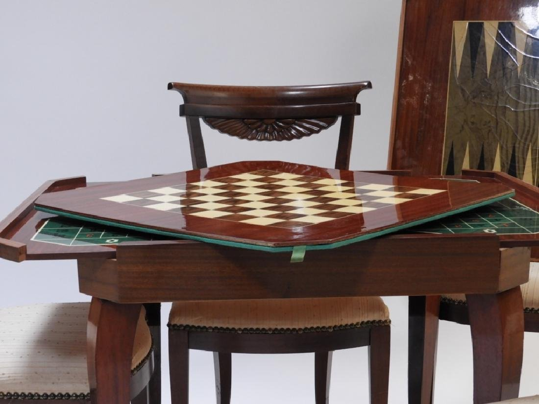 Italian Exotic Wood Carved Game Table & 4 Chairs - 5