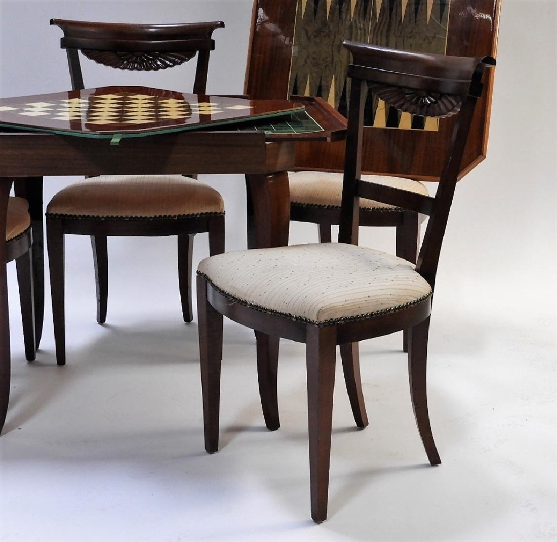 Italian Exotic Wood Carved Game Table & 4 Chairs - 6