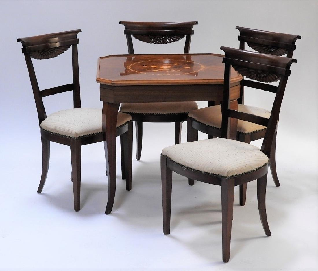 Italian Exotic Wood Carved Game Table & 4 Chairs - 8