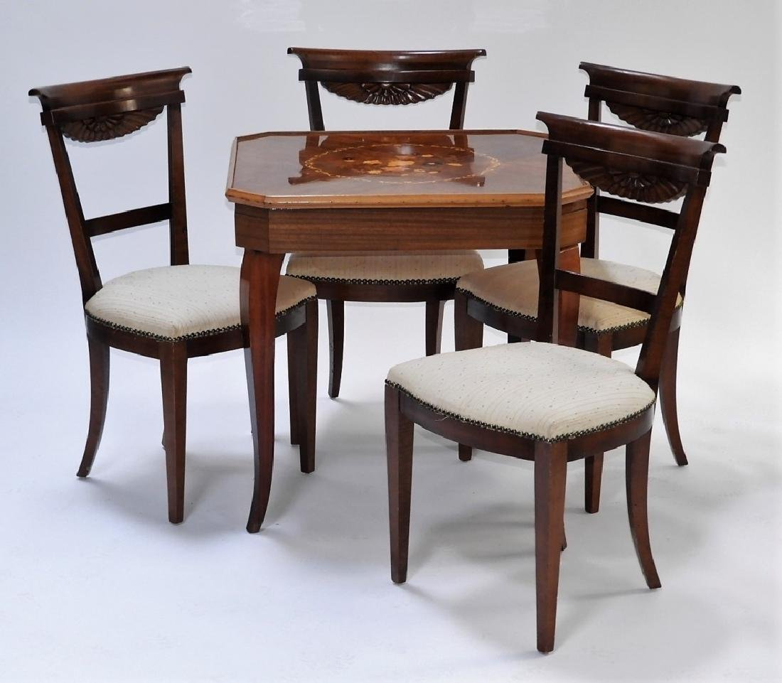 Italian Exotic Wood Carved Game Table & 4 Chairs - 9