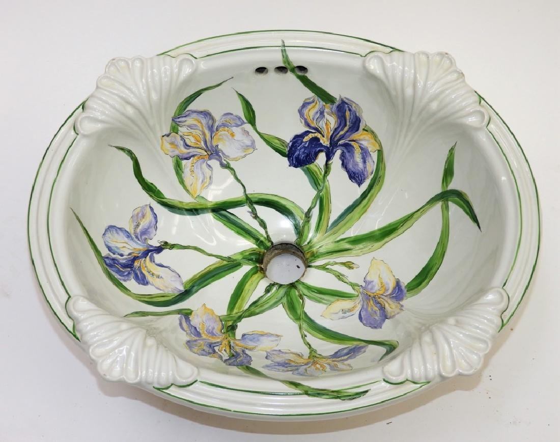 Sherle Wagner Iris Floral Porcelain Sink Basin