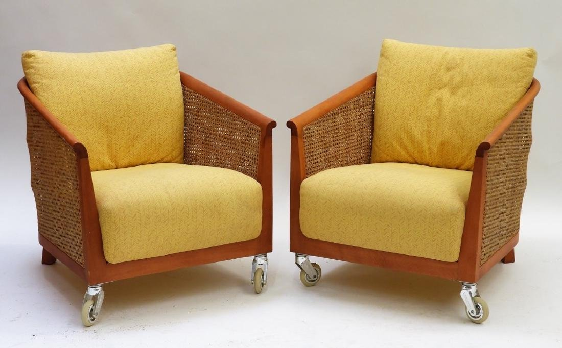 PR American MCM Caned Rattan Upholstered Chairs