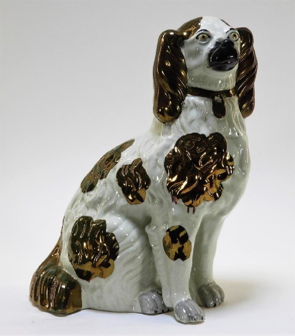 LG Staffordshire Copper Luster Pearlware Dog