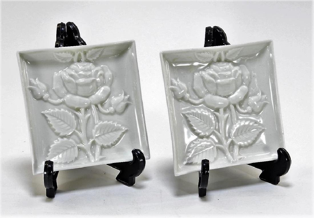 PR Porcelain de Paris Square Floral Relief Plates