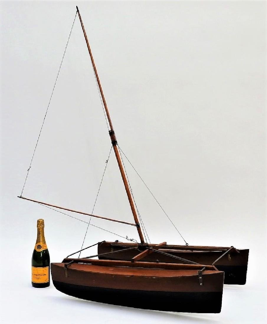 Early American Folk Art Catamaran Pond Boat Model