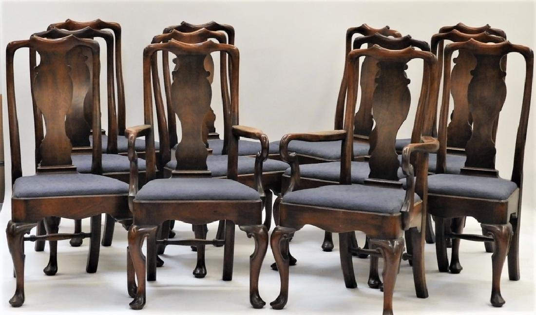 Set 12 Queen Anne Style Walnut Dining Chairs